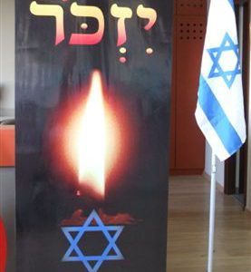 Roll up will remember with 2 meters high floor stand and Israeli flag