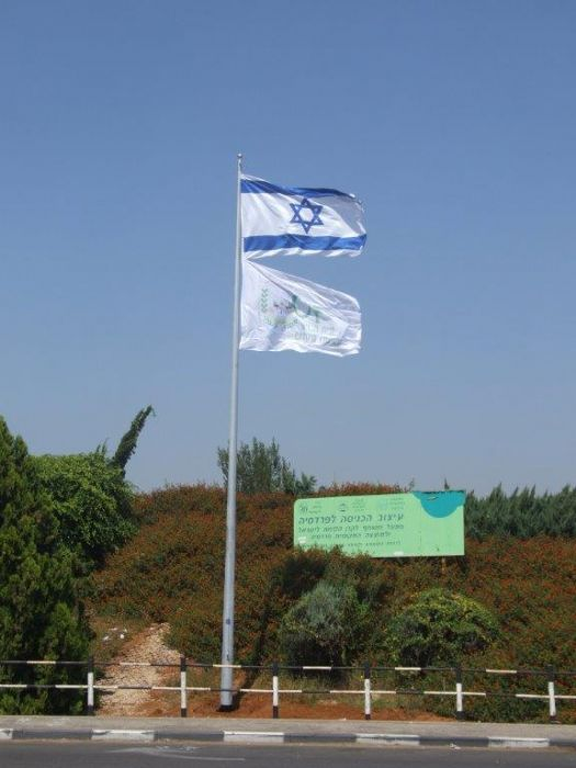 Installing a 40-foot coony steel flagpole at the entrance to The Fredsia תורן