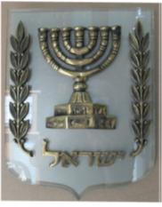 סמל מדינה פליז רקע פרספקס דמוי זכוכית כולל מדבקת התזת חול מידות : 25.5X30